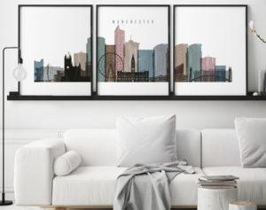 Manchester set of 3 prints skyline distressed 1 second