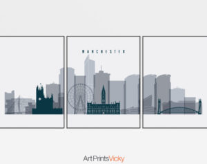 Manchester 3 piece poster grey blue