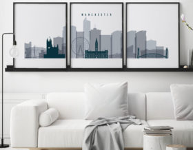 Manchester 3 piece poster grey blue second