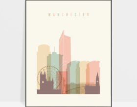 Manchester art print skyline pastel cream