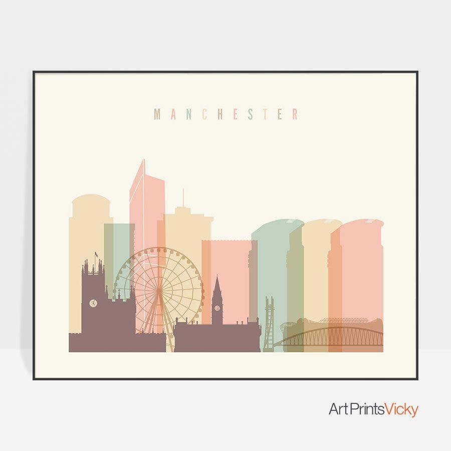 Manchester city poster pastel cream landscape