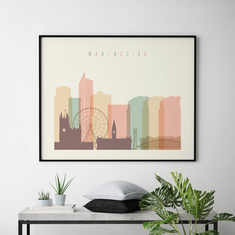 Manchester city poster pastel cream landscape second