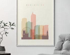 Manchester art print skyline pastel cream second