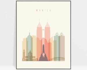 Manila art print skyline pastel cream