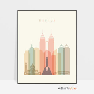 Manila art print skyline pastel cream