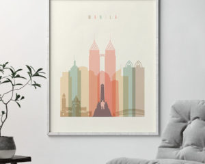 Manila art print skyline pastel cream second
