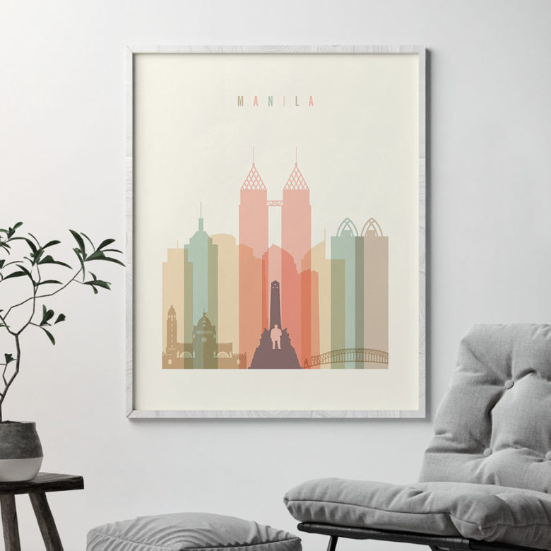 Manila art print skyline pastel cream second