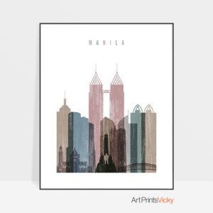 Manila skyline poster distressed 1