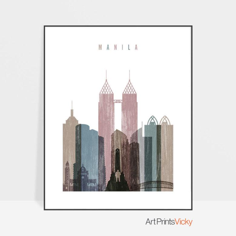 Manila skyline poster distressed 1