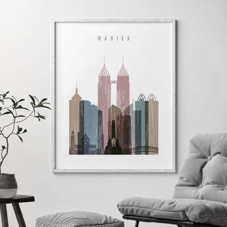 Manila skyline poster distressed 1 second