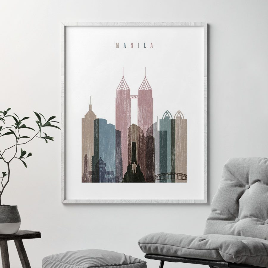 Manila skyline poster distressed 1 second
