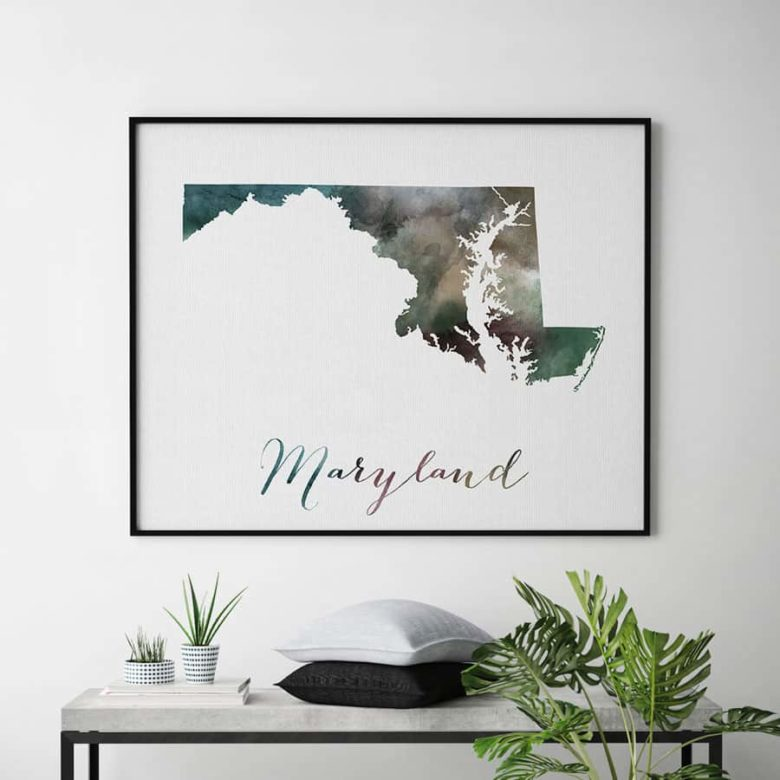 Maryland State map print second