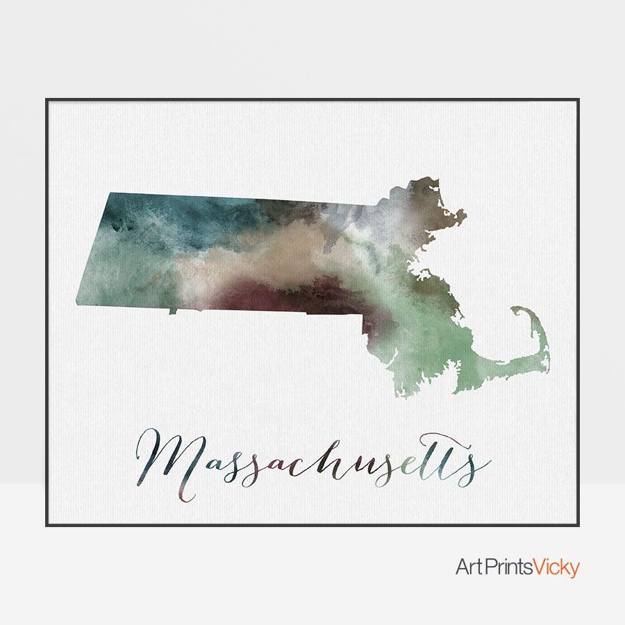 Massachusetts State map print