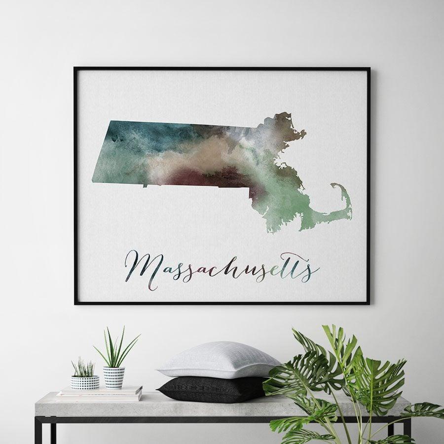 Massachusetts State map print second