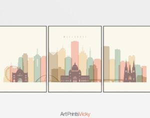 Melbourne triptych wall art pastel cream