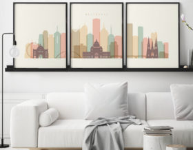 Melbourne triptych wall art pastel cream second