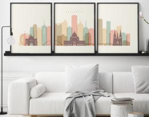 Melbourne triptych wall art pastel cream second