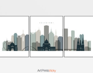 Melbourne set of 3 prints skyline earth tones 4