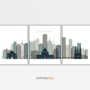 Melbourne set of 3 prints skyline earth tones 4