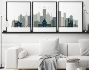 Melbourne set of 3 prints skyline earth tones 4 second