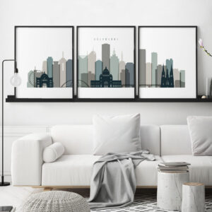 Melbourne set of 3 prints skyline earth tones 4 second