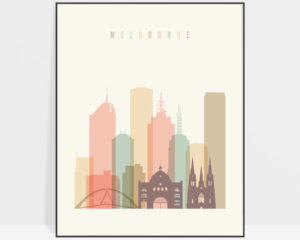Melbourne art print skyline pastel cream