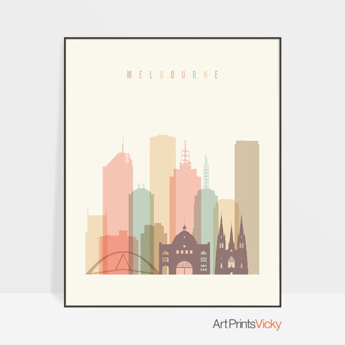 Melbourne art print skyline pastel cream