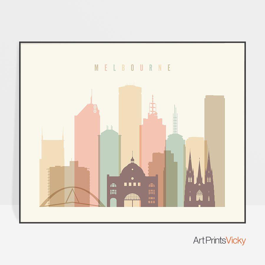 Melbourne poster pastel cream landscape