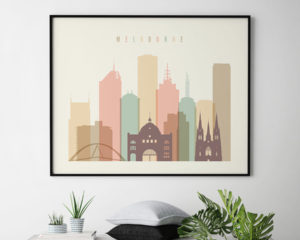 Melbourne poster pastel cream landscape second