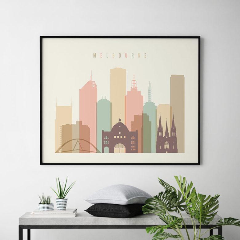 Melbourne poster pastel cream landscape second