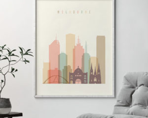 Melbourne art print skyline pastel cream second