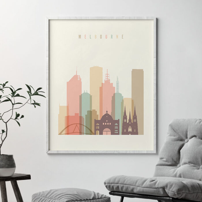 Melbourne art print skyline pastel cream second