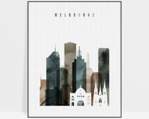 Melbourne skyline poster watercolor 2