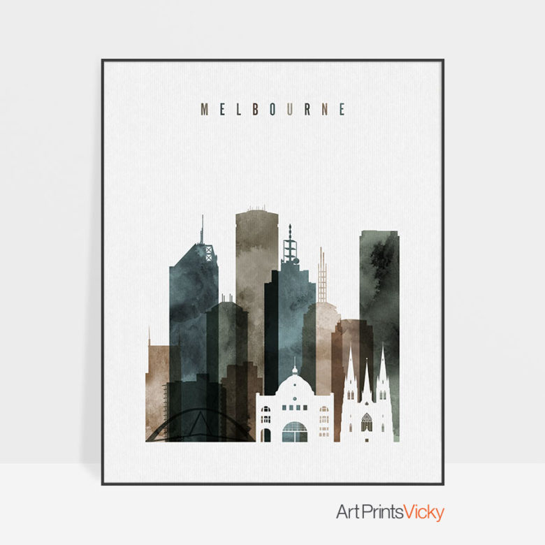 Melbourne skyline poster watercolor 2