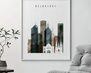 Melbourne skyline poster watercolor 2 second