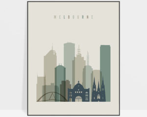 Melbourne print skyline earth tones 1