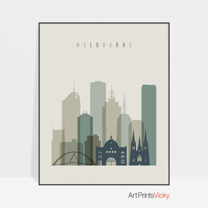 Melbourne print skyline earth tones 1