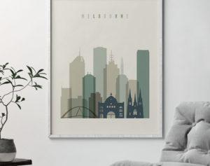 Melbourne print skyline earth tones 1 second