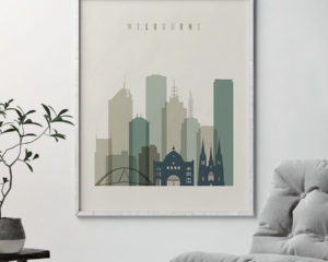 Melbourne print skyline earth tones 1 second