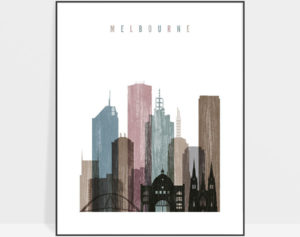 Melbourne skyline poster distressed 1