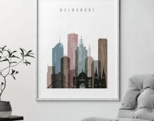 Melbourne skyline poster distressed 1 second