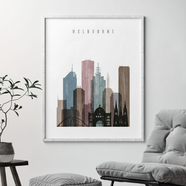 Melbourne skyline poster distressed 1 second