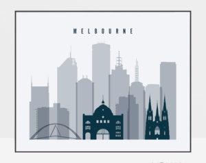 Melbourne skyline art grey blue landscape