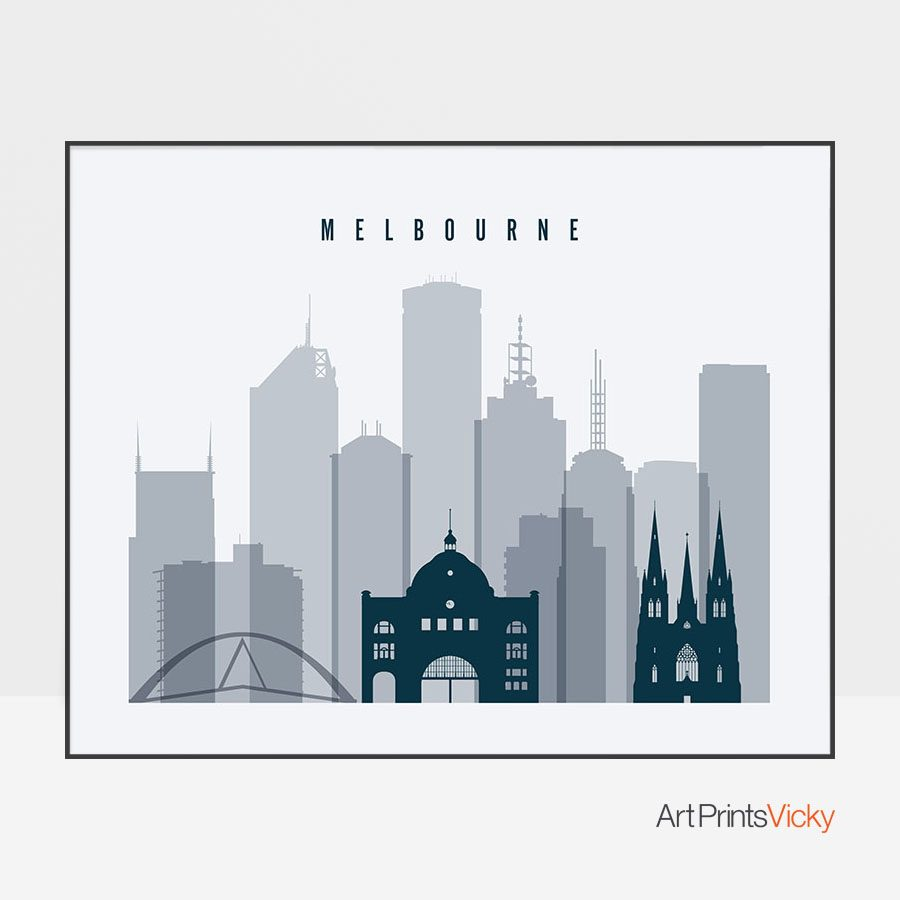 Melbourne skyline art grey blue landscape