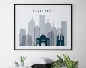 Melbourne skyline art grey blue landscape second