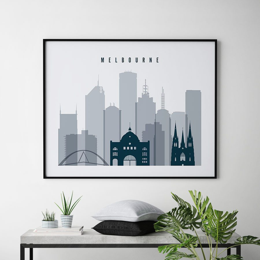 Melbourne skyline art grey blue landscape second