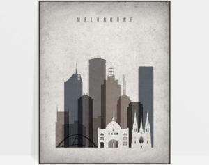 Melbourne skyline wall art retro
