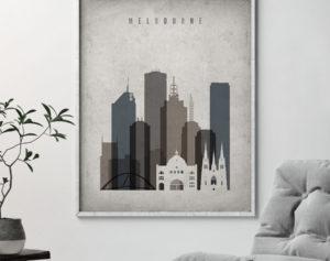 Melbourne skyline wall art retro second