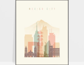 Mexico City art print skyline pastel cream
