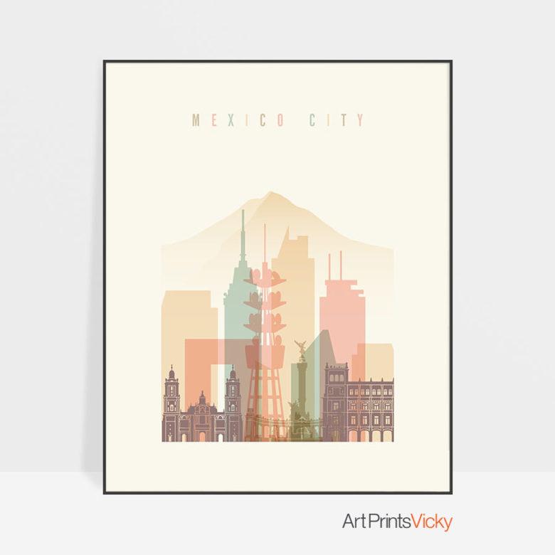 Mexico City art print skyline pastel cream
